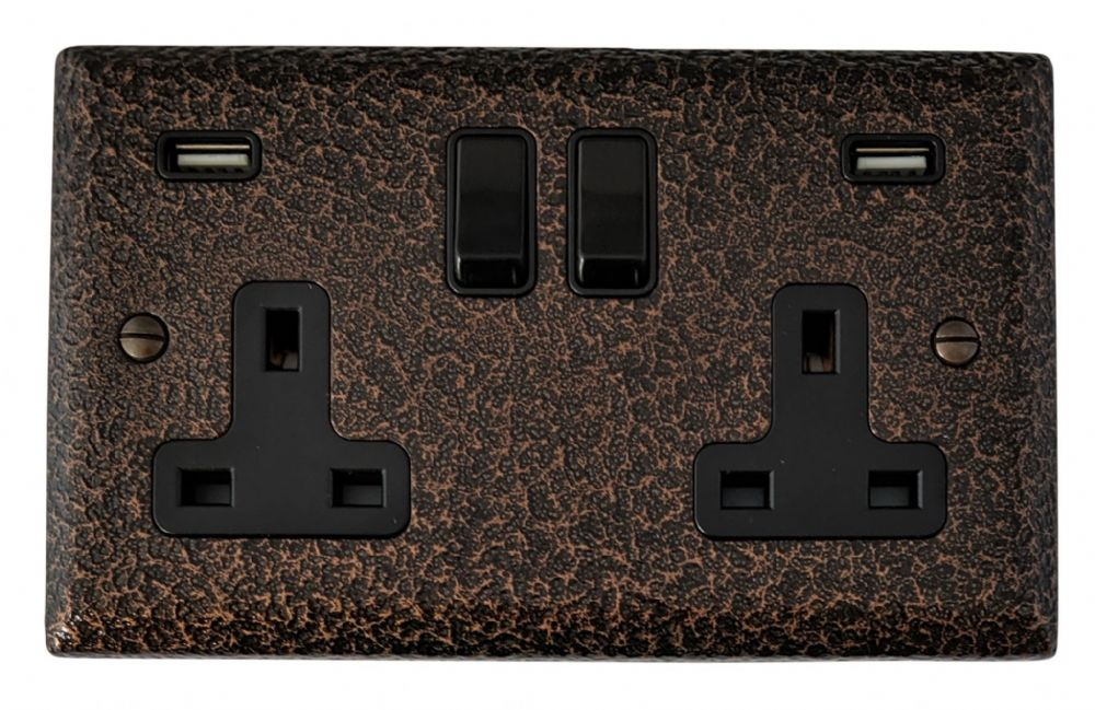 G&H SHC910B Spectrum Plate Hammered Copper 2 Gang Double 13A Switched Plug Socket 2.1A USB